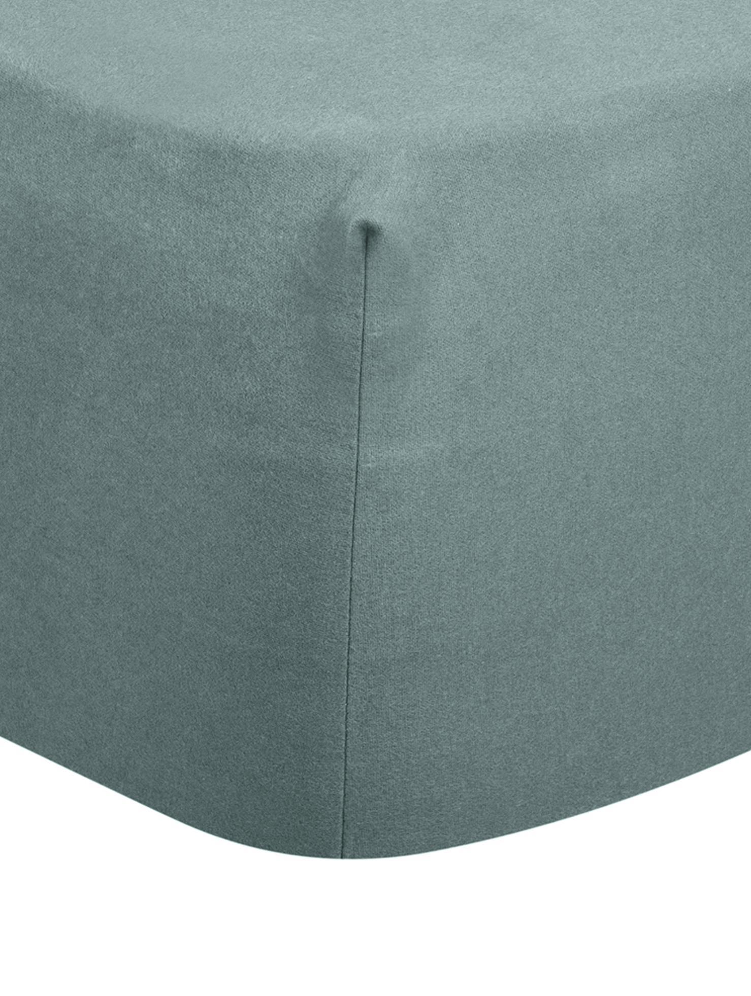 Lenzuolo con angoli in flanella Biba, Tessuto: flanella, Verde scuro, Larg. 180 x Lung. 200 cm
