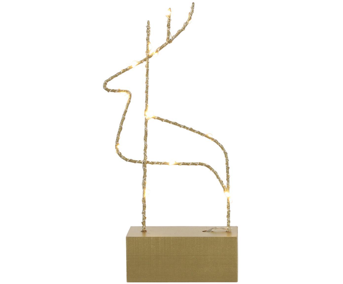 Decorazione natalizia renna a LED Hirsch, Metallo rivestito, Ottonato, Larg. 13 x Alt. 26 cm