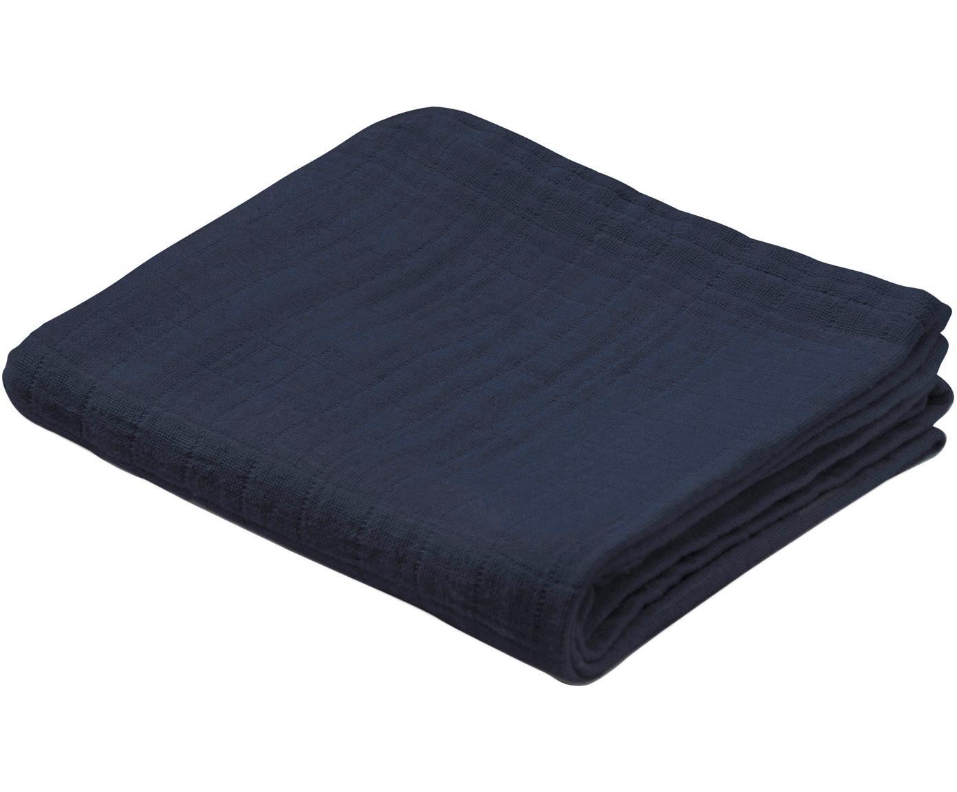 Copertina in cotone organico Muslin 2 pz, Cotone organico, certificato GOTS, Blu scuro, Larg. 70 x Lung. 70 cm