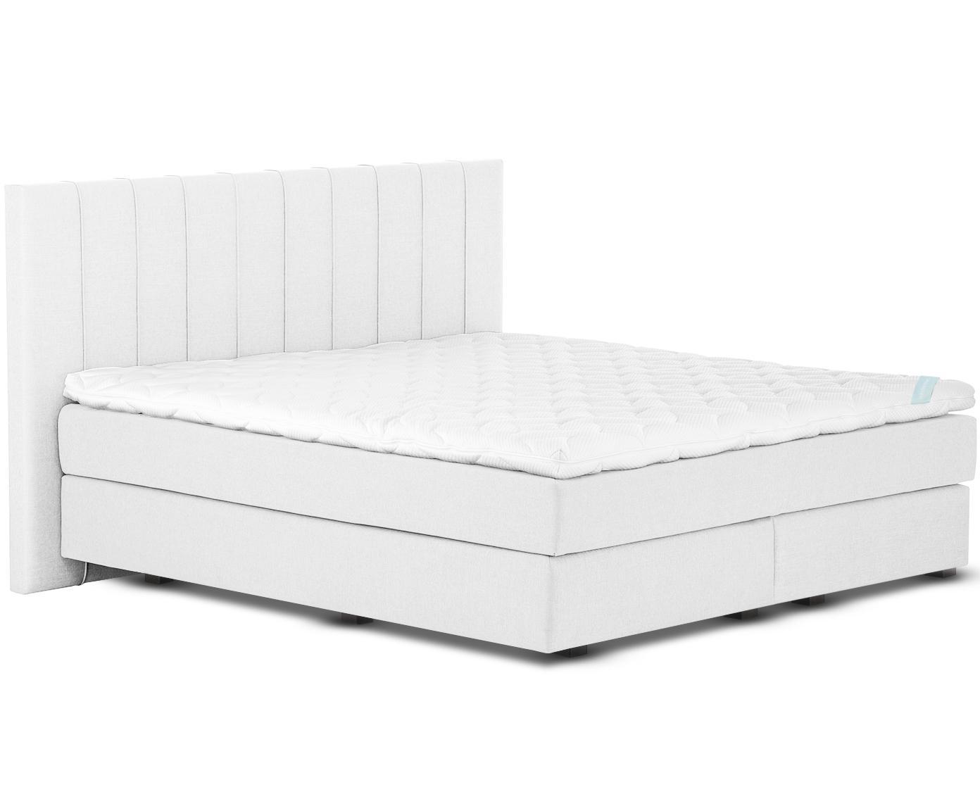 Łóżko kontynentalne premium Lacey, Nogi: lite drewno bukowe, lakie, Jasny szary, 140 x 200 cm