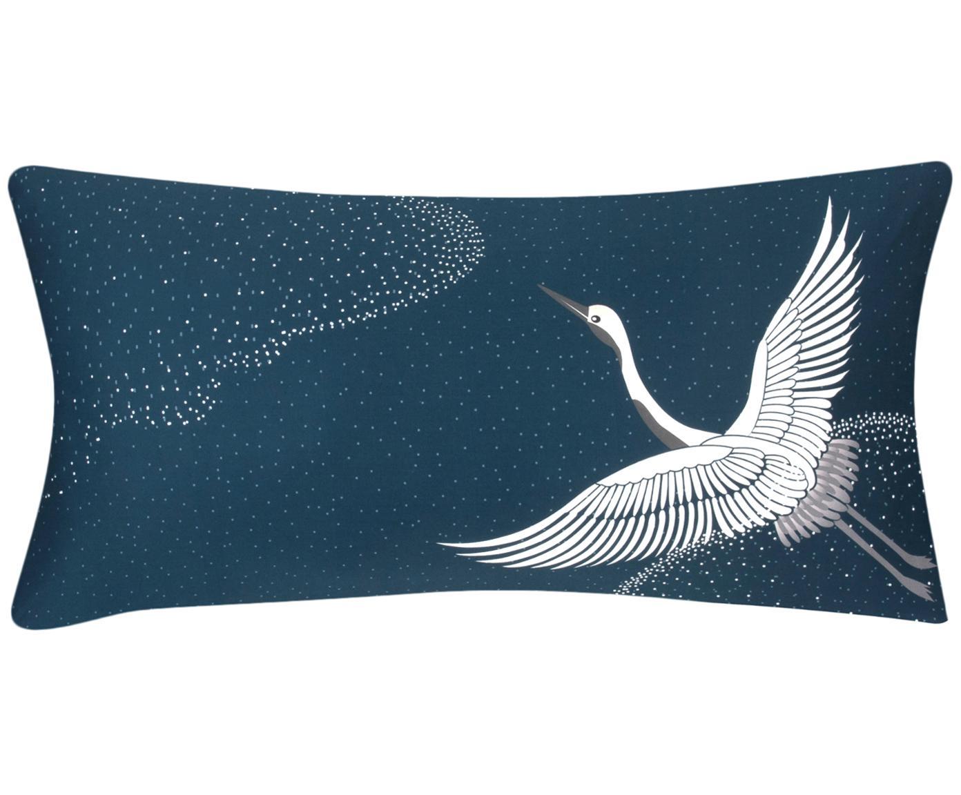 Baumwollsatin-Kissenbezüge Yuma mit Kranichmotiv, 2 Stück, Webart: Satin Fadendichte 210 TC,, Blau, Weiß, Grau, 40 x 80 cm