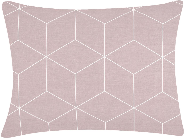 Funda de almohada de tejido renforcé Lynn, Rosa palo, blanco crema, An 50 x L 70 cm