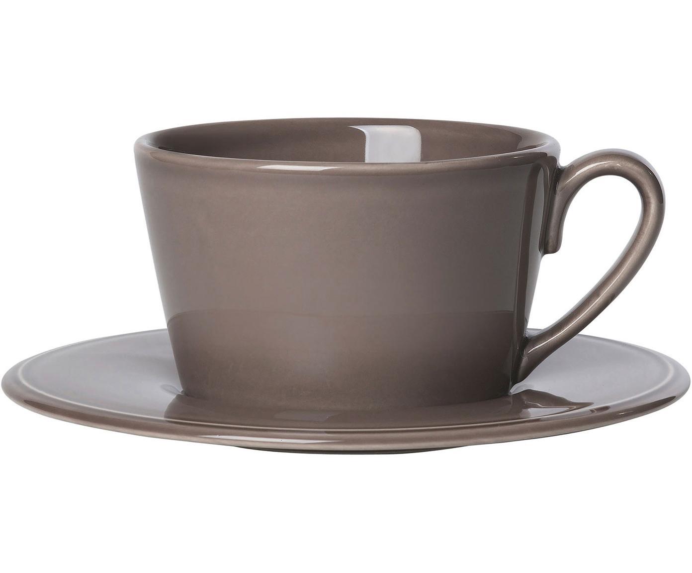 Teetasse mit Untertasse Constance im Landhaus Style, Steingut, Braun, Ø 19 x H 8 cm