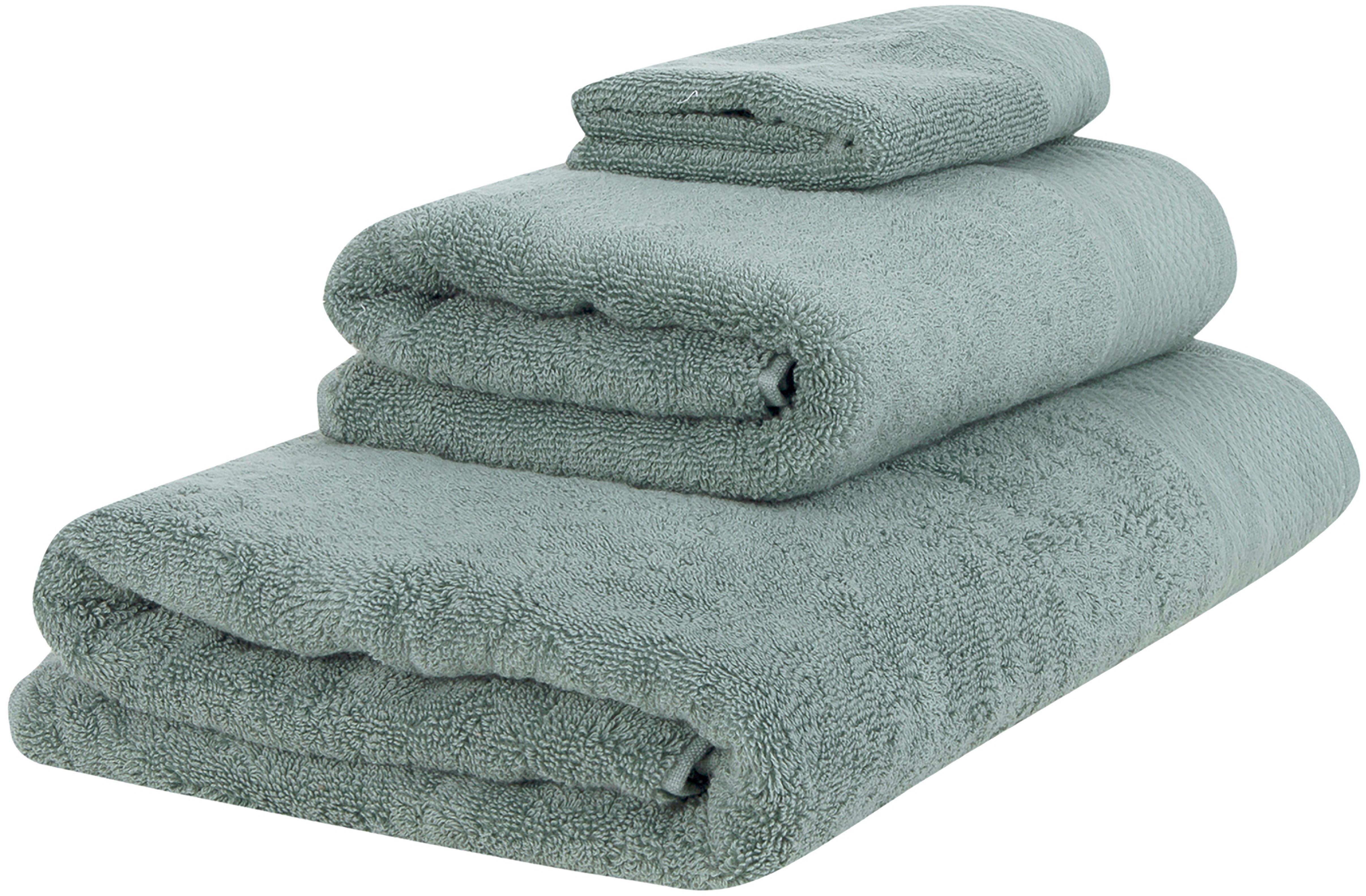 Handtuch-Set Premium mit klassischer Zierbordüre, 3-tlg., Salbeigrün, Verschiedene Grössen