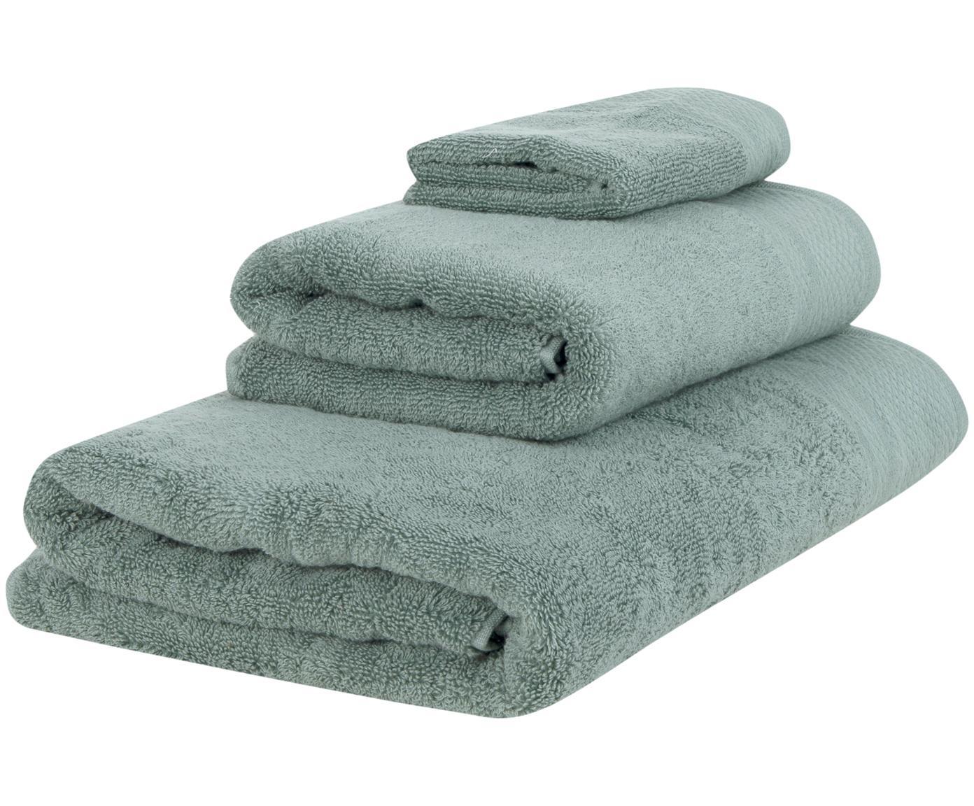 Komplet ręczników Premium, 3 elem., 100% bawełna, Wysoka gramatura 600 g/m², Szałwiowy zielony, Różne rozmiary