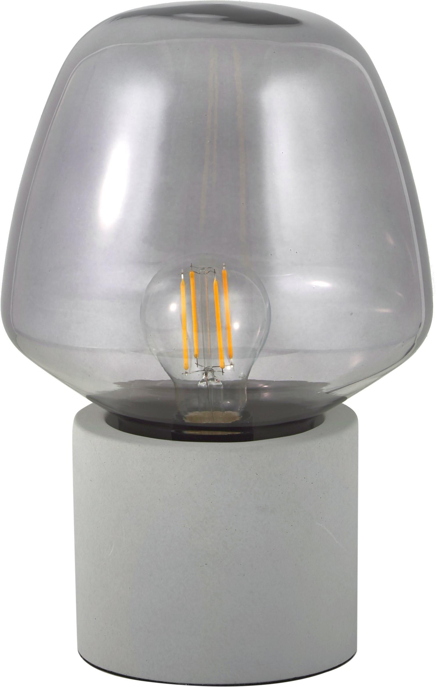 Kleine Tischleuchte Christina mit Betonfuß, Lampenschirm: Glas, Lampenfuß: Beton, Betongrau, Grau, transparent, Ø 20 x H 30 cm