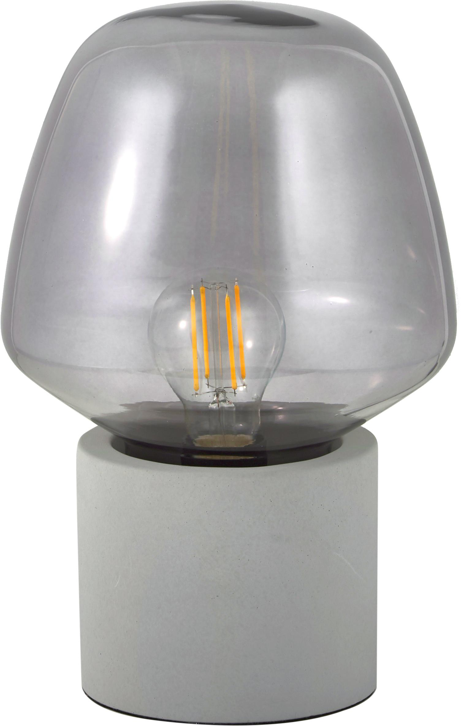 Tafellamp Christina, Lampenkap: glas, Lampvoet: betonkleurig, Betongrijs, grijs, transparant, Ø 20 x H 30 cm