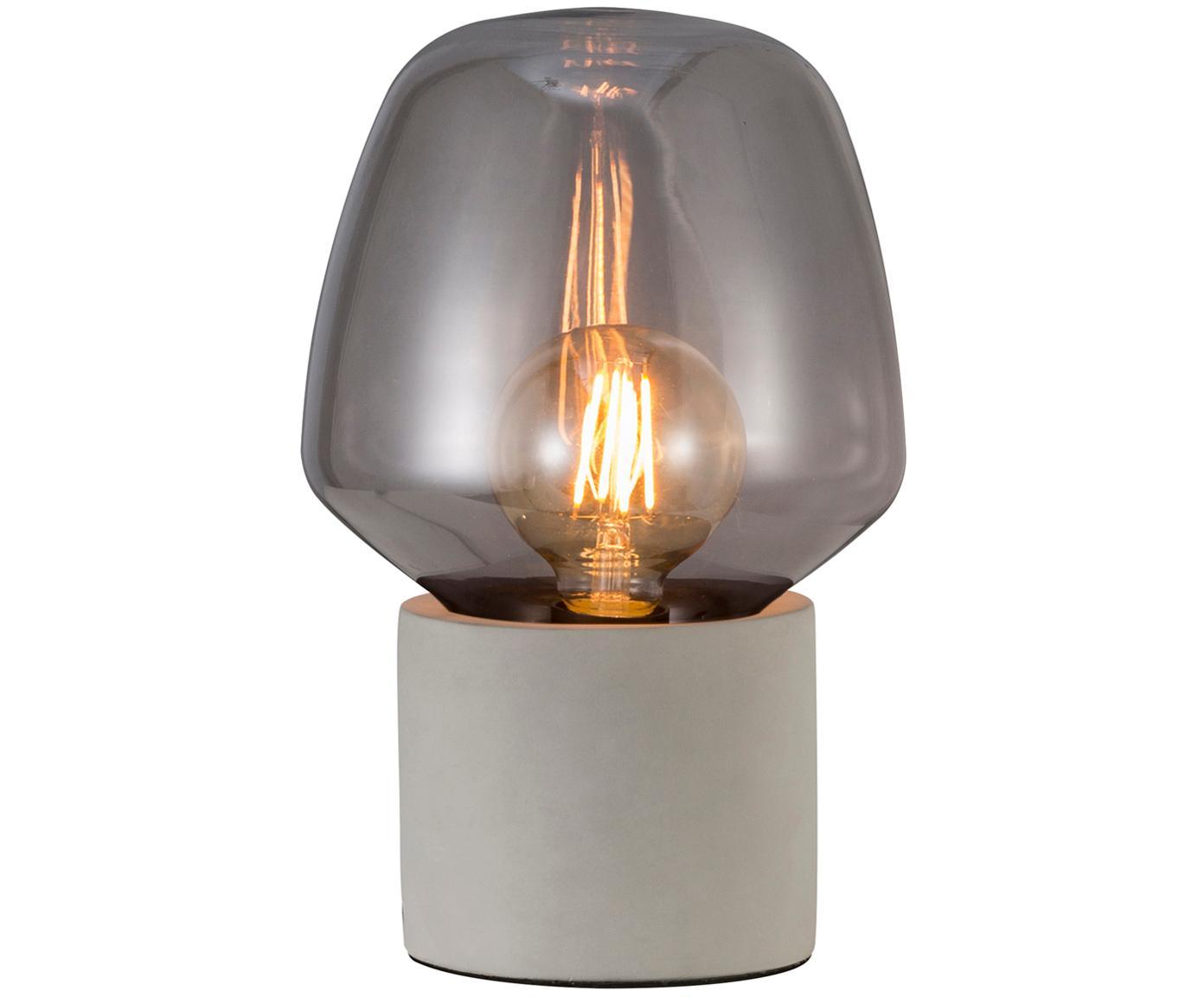 Kleine Tischleuchte Christina, Lampenschirm: Glas, Lampenfuß: Beton, Betongrau, Grau, transparent, Ø 20 x H 30 cm