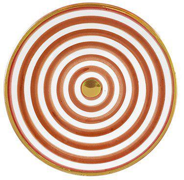Handgemachter Speiseteller Assiette mit Goldrand, Keramik, Orange, Cremefarben, Gold, Ø 26 cm