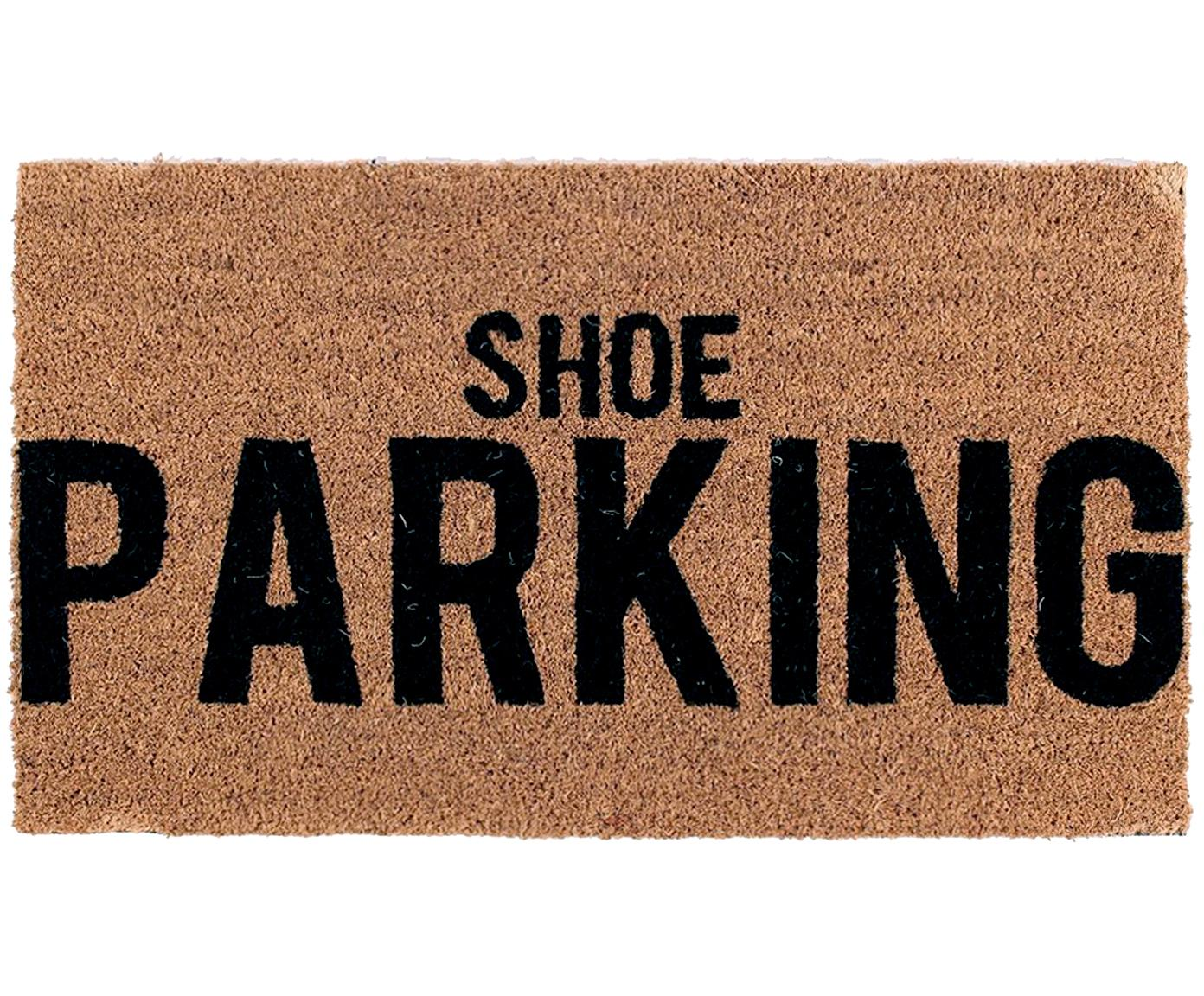 Felpudo Shoe Parking, Parte superior: fibras de coco, Reverso: PVC, Marrón, negro, An 40 x L 70 cm
