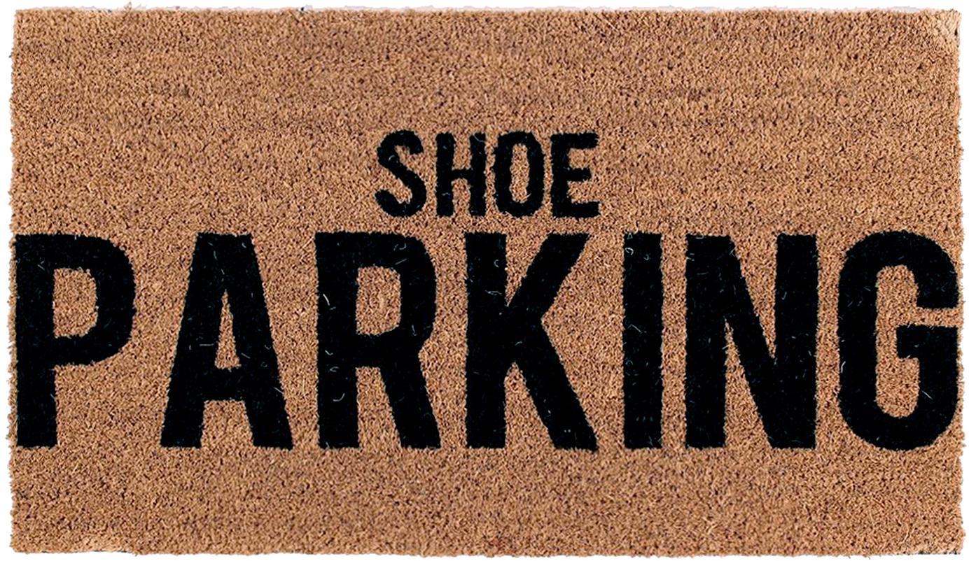 Fussmatte Shoe Parking, Oberseite: Kokosfaser, Unterseite: PVC, Braun, Schwarz, 40 x 70 cm