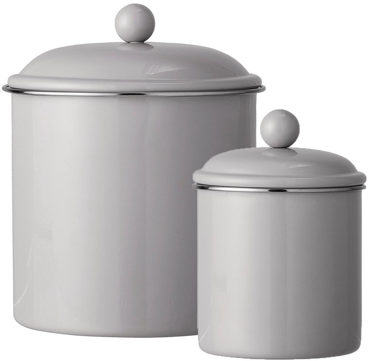 Set 2 contenitori Clone, Metallo verniciato, Marrone chiaro, Set in varie misure