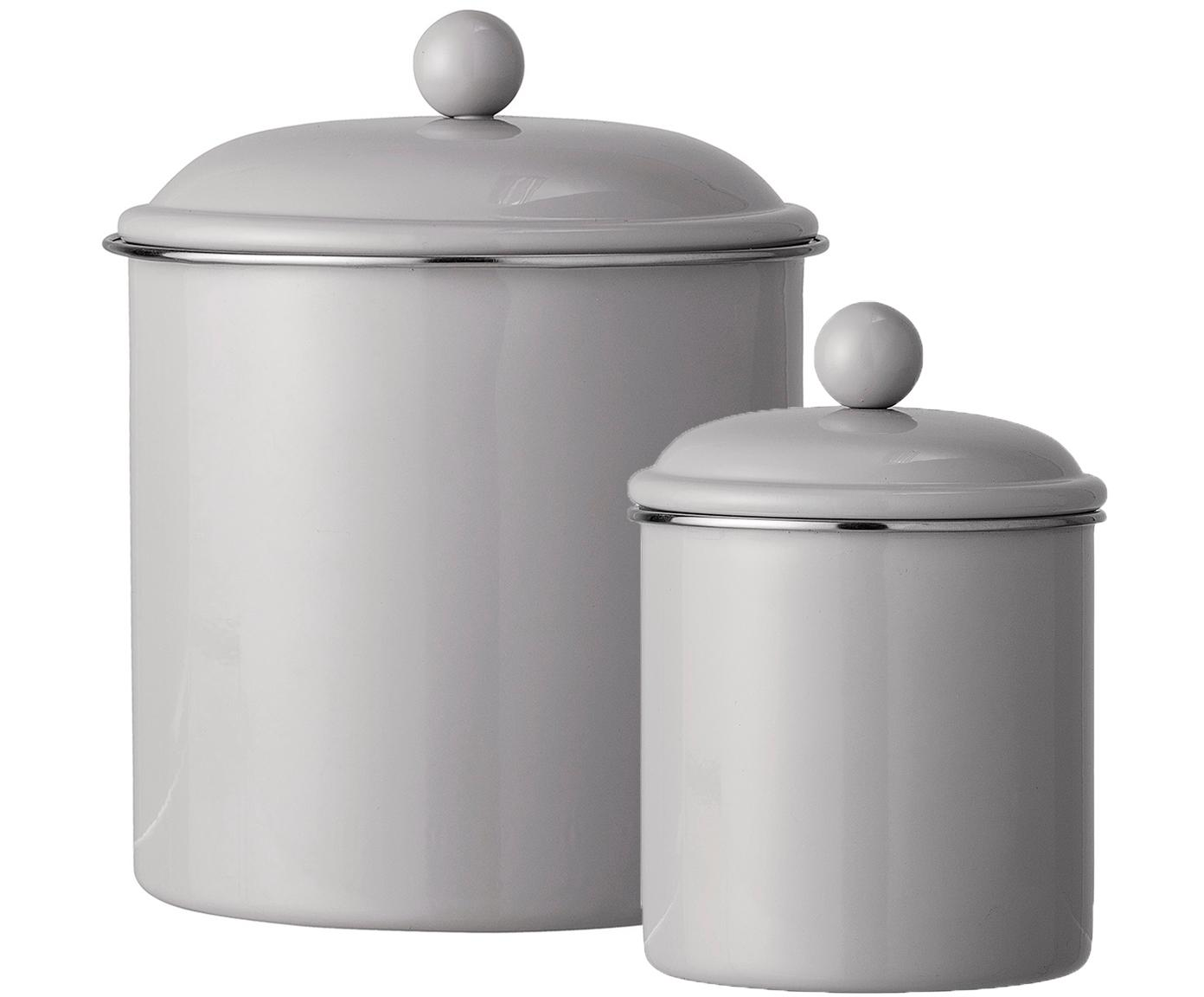 Set contenitori Clone, 2 pz., Metallo verniciato, Marrone chiaro, Diverse dimensioni