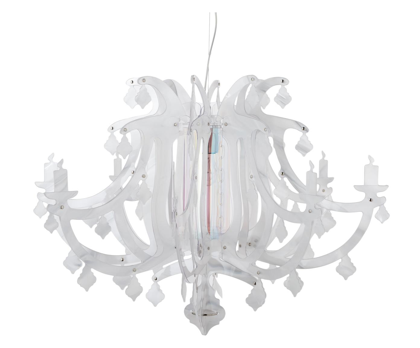 Design hanglamp Ginetta, Lampenkap: polycarbonaat, Baldakijn: metaal, Transparant, Ø 78 x H 58 cm