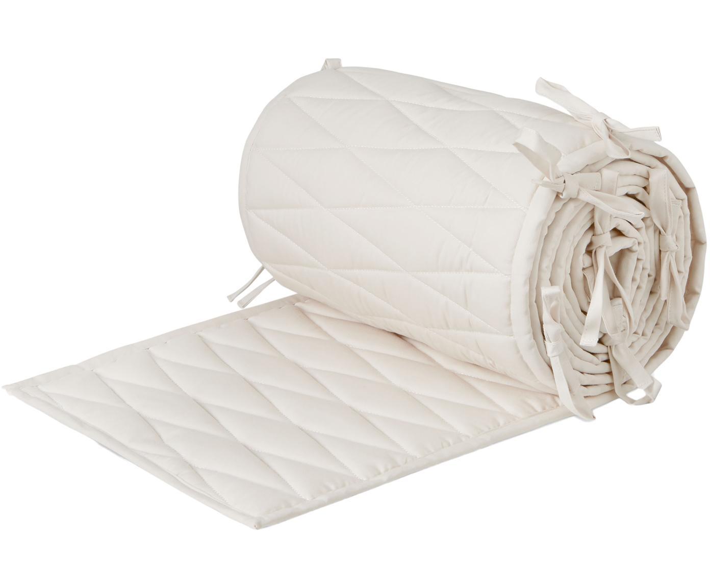 Paracolpi per culla in cotone organico Safe, Rivestimento: cotone organico, Crema, Larg. 30 x Lung. 365 cm