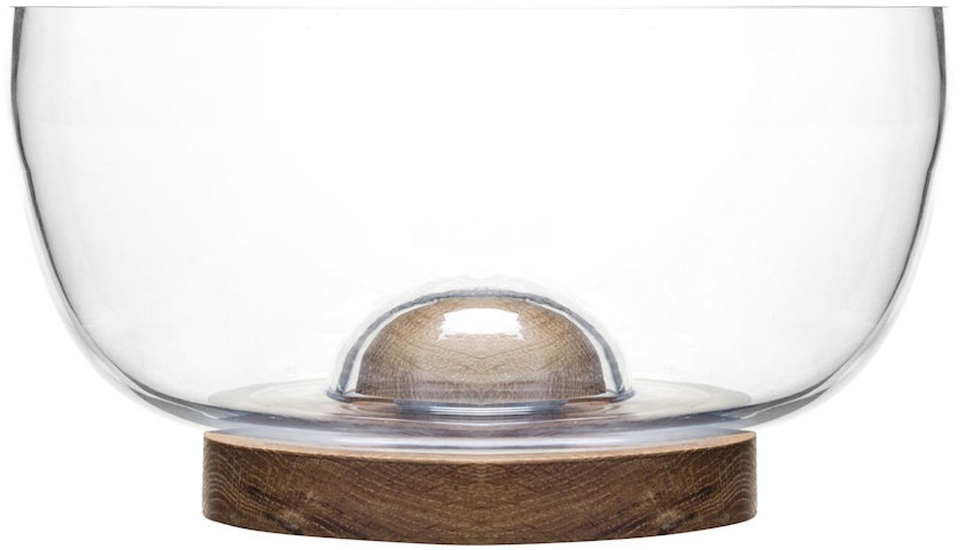 Salatschüssel Eden aus Glas und Eichenholz, Schale: Glas, Untersetzer: Eichenholz, Transparent, Eichenholz, Ø 18 x H 10 cm