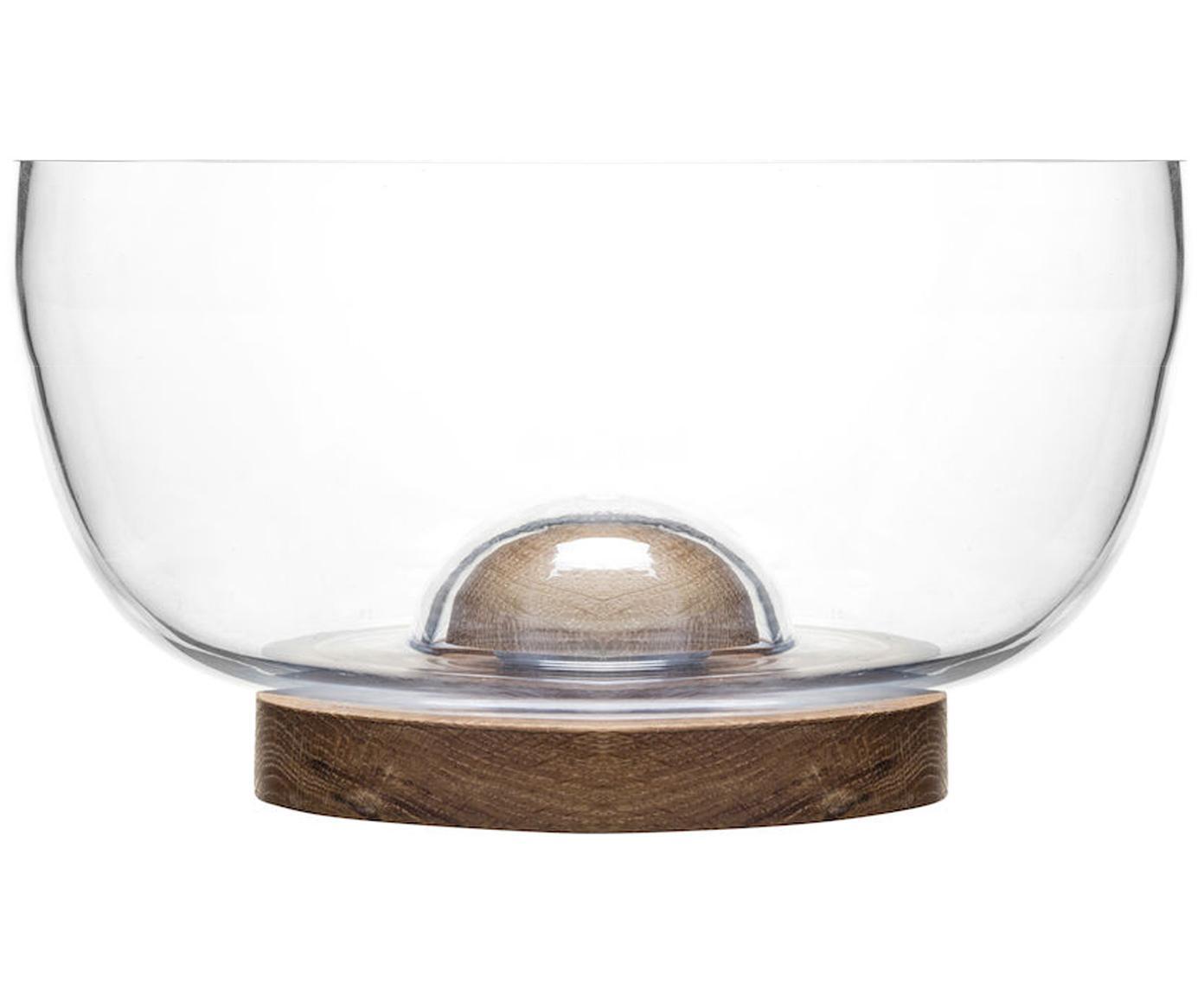 Saladeschaal Eden van glas en eikenhout, Eikenhout, glas, Transparent, eikenhoutkleurig, Ø 18 x H 10 cm