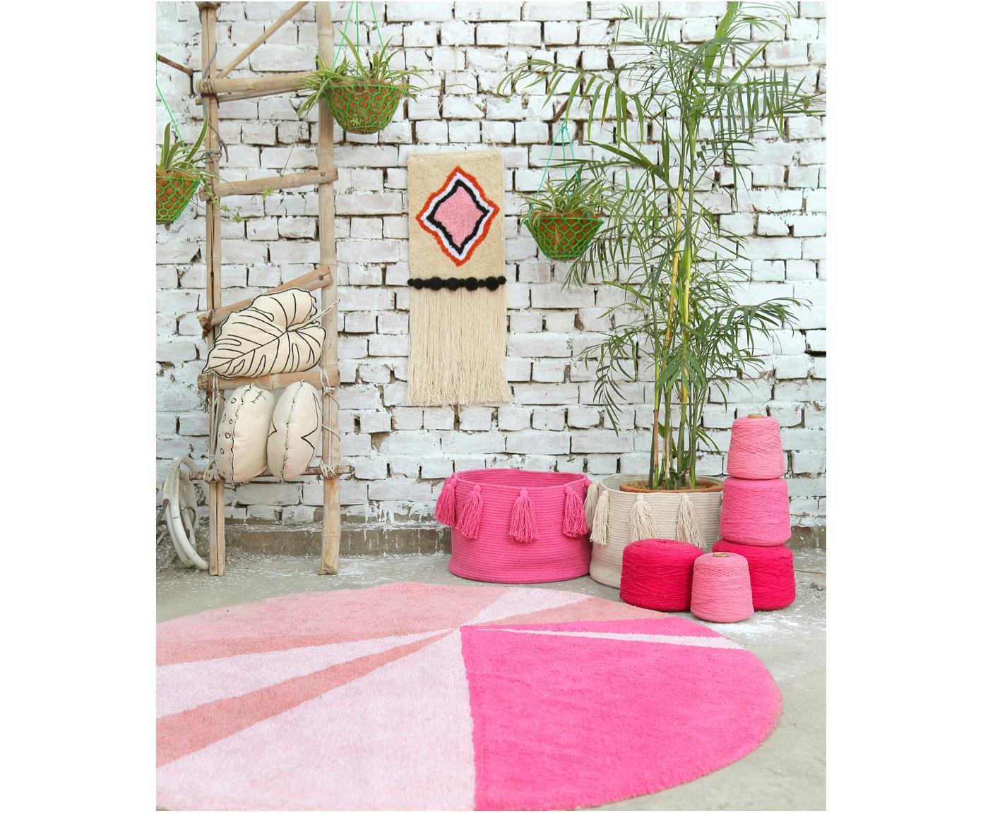 Aufbewahrungskorb Tassels, 97% Baumwolle, 3% recycelte Baumwolle, Pink, Ø 45 x H 30 cm
