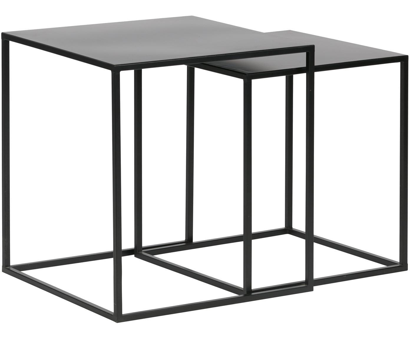 Set 2 tavolini in metallo Ziva, Metallo verniciato, Nero opaco, Diverse dimensioni
