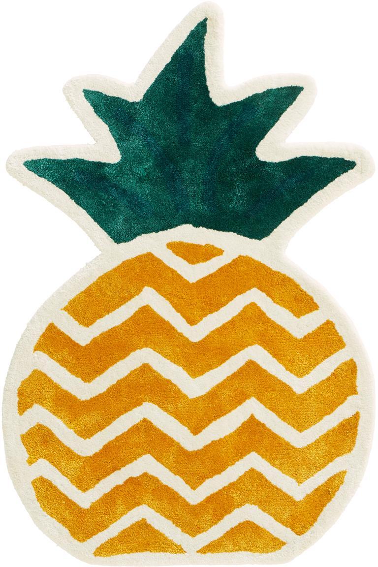 Vloerkleed Pineapple, Viscose, Geel, groen, crèmewit, 60 x 90 cm