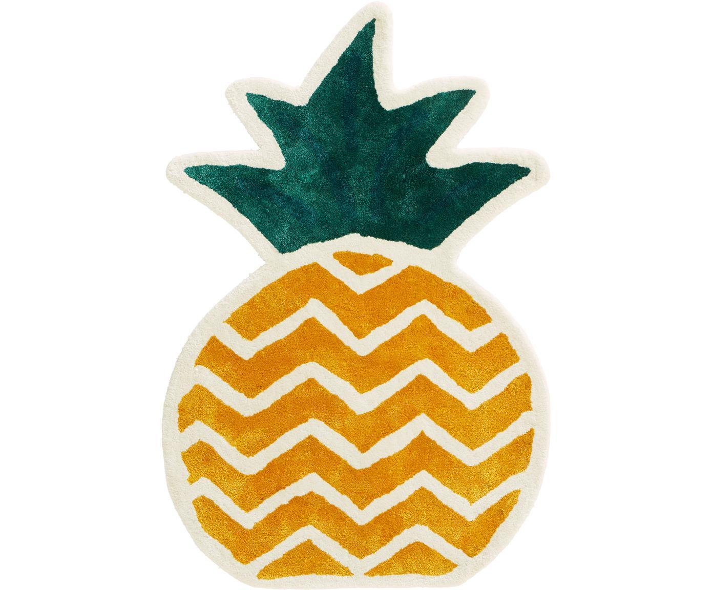 Teppich Pineapple, Viskose, Gelb, Grün, Cremeweiß, 60 x 90 cm