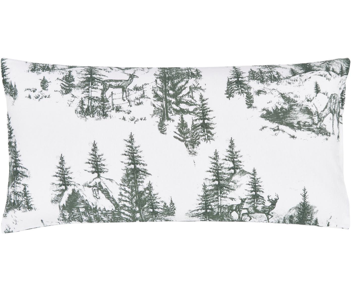 Poszewka na poduszkę z flaneli Nordic, 2 szt., Zielony, biały, S 40 x D 80 cm