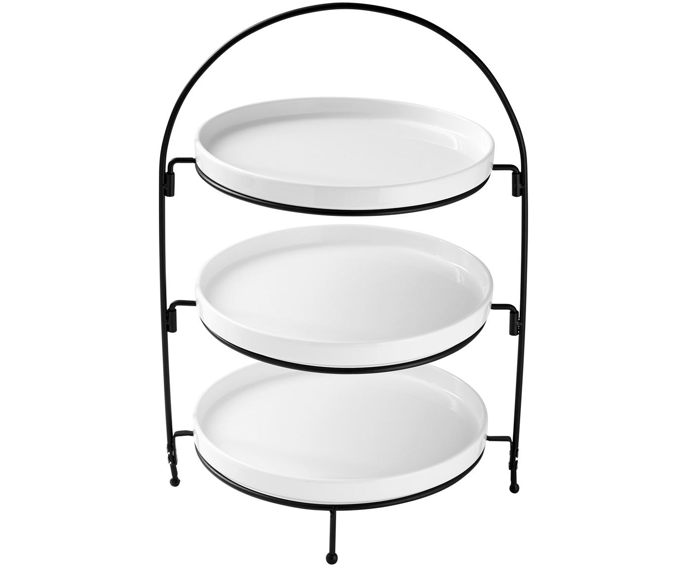 Etagere Tazzo, Ripiani: porcellana, Struttura: metallo verniciato, Bianco, nero, Larg. 30 x Alt. 55 cm