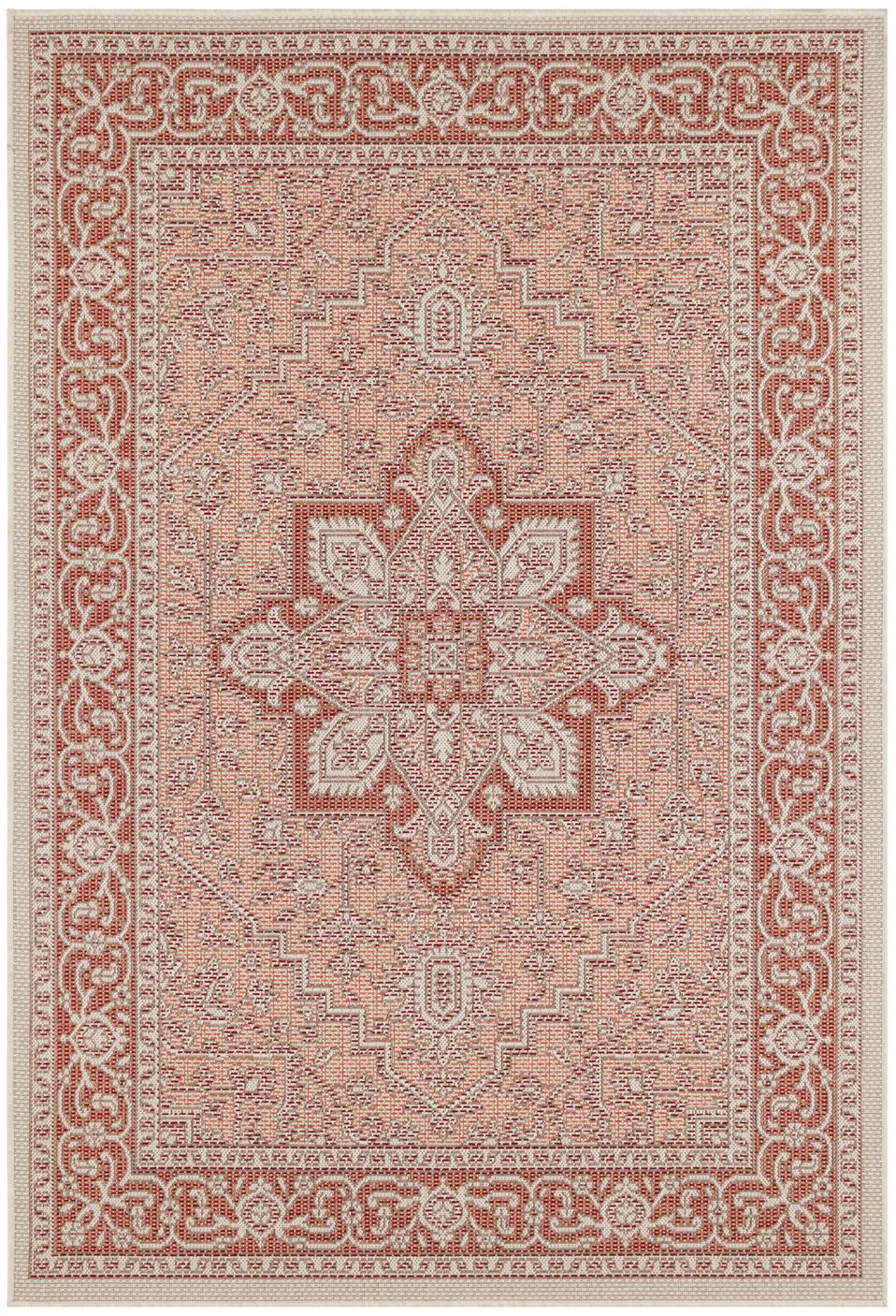 In- & Outdoor-Teppich Anjara im Vintage Style, 100% Polypropylen, Terrakottarot, Beige, B 140 x L 200 cm (Größe S)