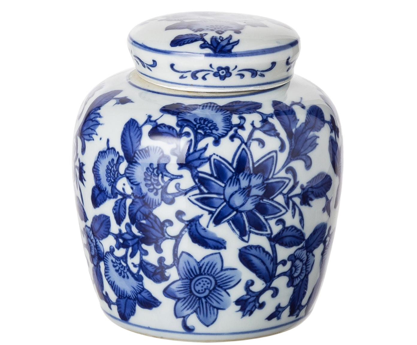 Kleine Deckelvase Annabelle aus Porzellan, Porzellan, Blau,Weiss, Ø 11 x H 13 cm