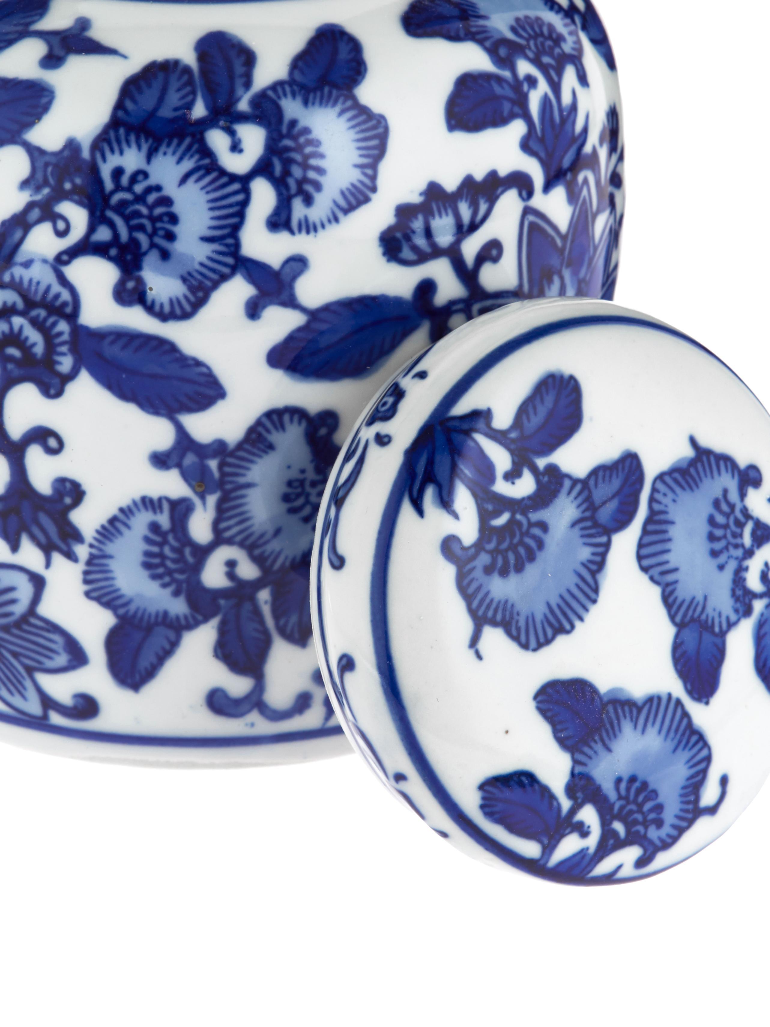 Kleine Deckelvase Annabelle aus Porzellan, Porzellan, Blau,Weiß, Ø 11 x H 13 cm
