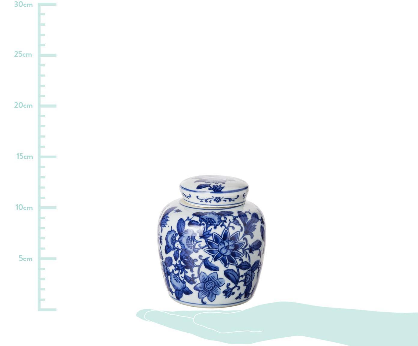 Tibor de porcelana Annabelle, Porcelana, Azul, blanco, Ø 11 x Al 13 cm
