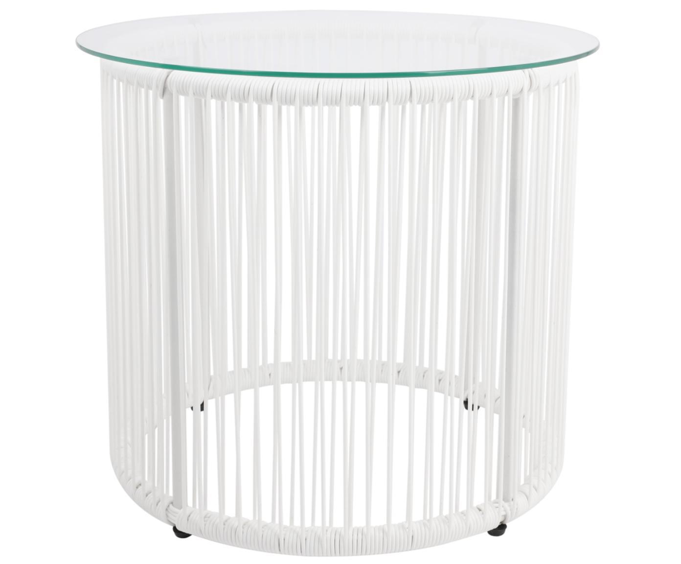 Beistelltisch Bahia aus Kunststoff-Geflecht, Tischplatte: Glas, Stärke, Gestell: Aluminium, pulverbeschich, Weiss, Ø 50 x H 45 cm