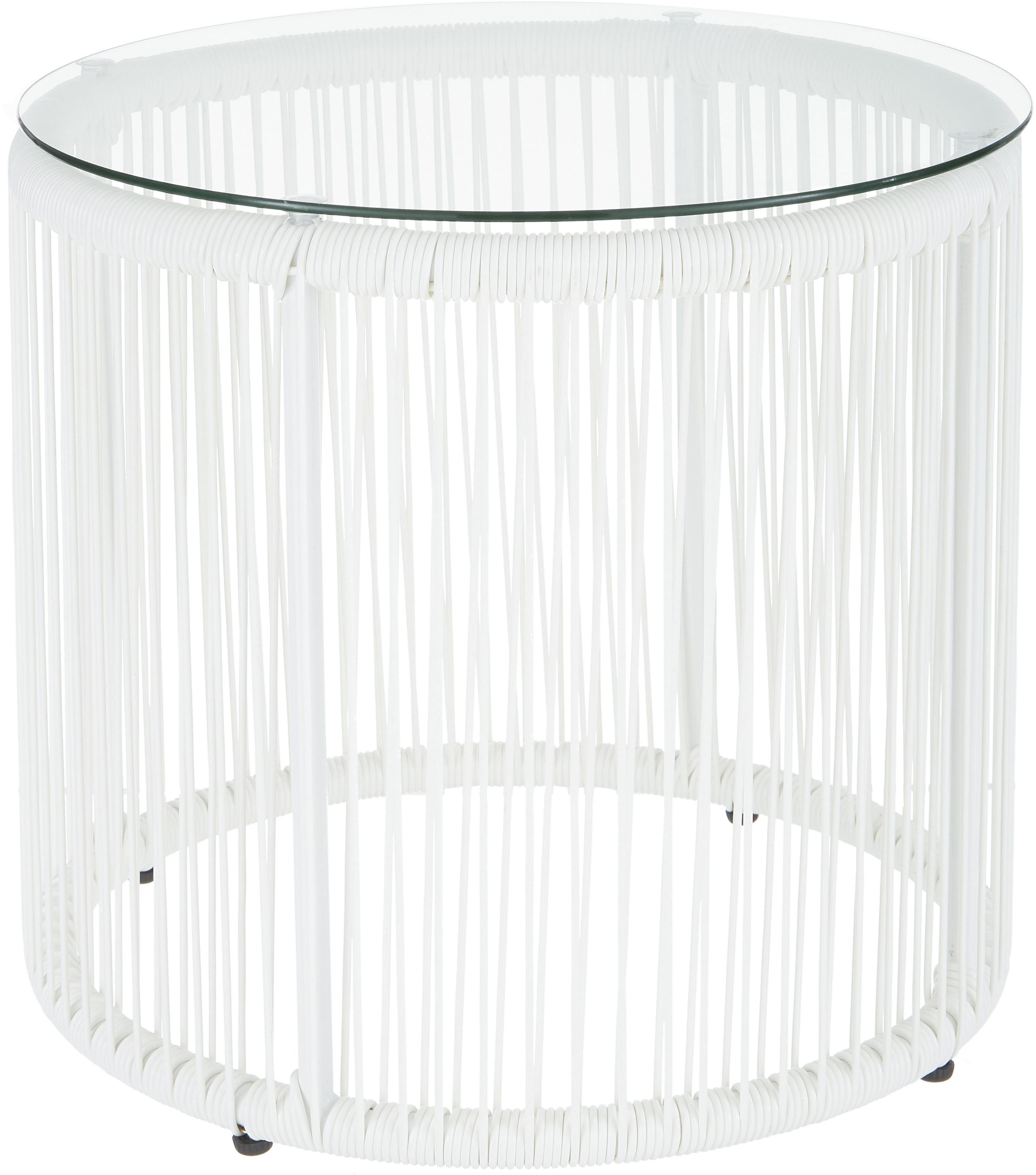 Tavolino con intreccio in plastica Bahia, Piano d'appoggio: vetro, spessore, Struttura: alluminio verniciato a po, Piano d'appoggio: trasparente Lati e struttura: bianco, Ø 50 x Alt. 45 cm