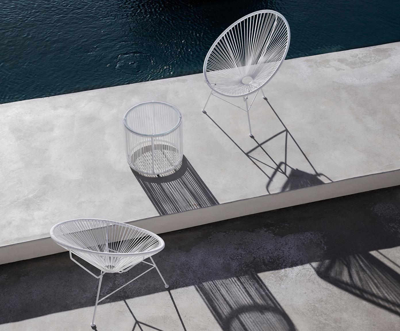 Beistelltisch Bahia aus Kunststoff-Geflecht, Tischplatte: Glas, Stärke, Gestell: Aluminium, pulverbeschich, Weiß, Ø 50 x H 45 cm