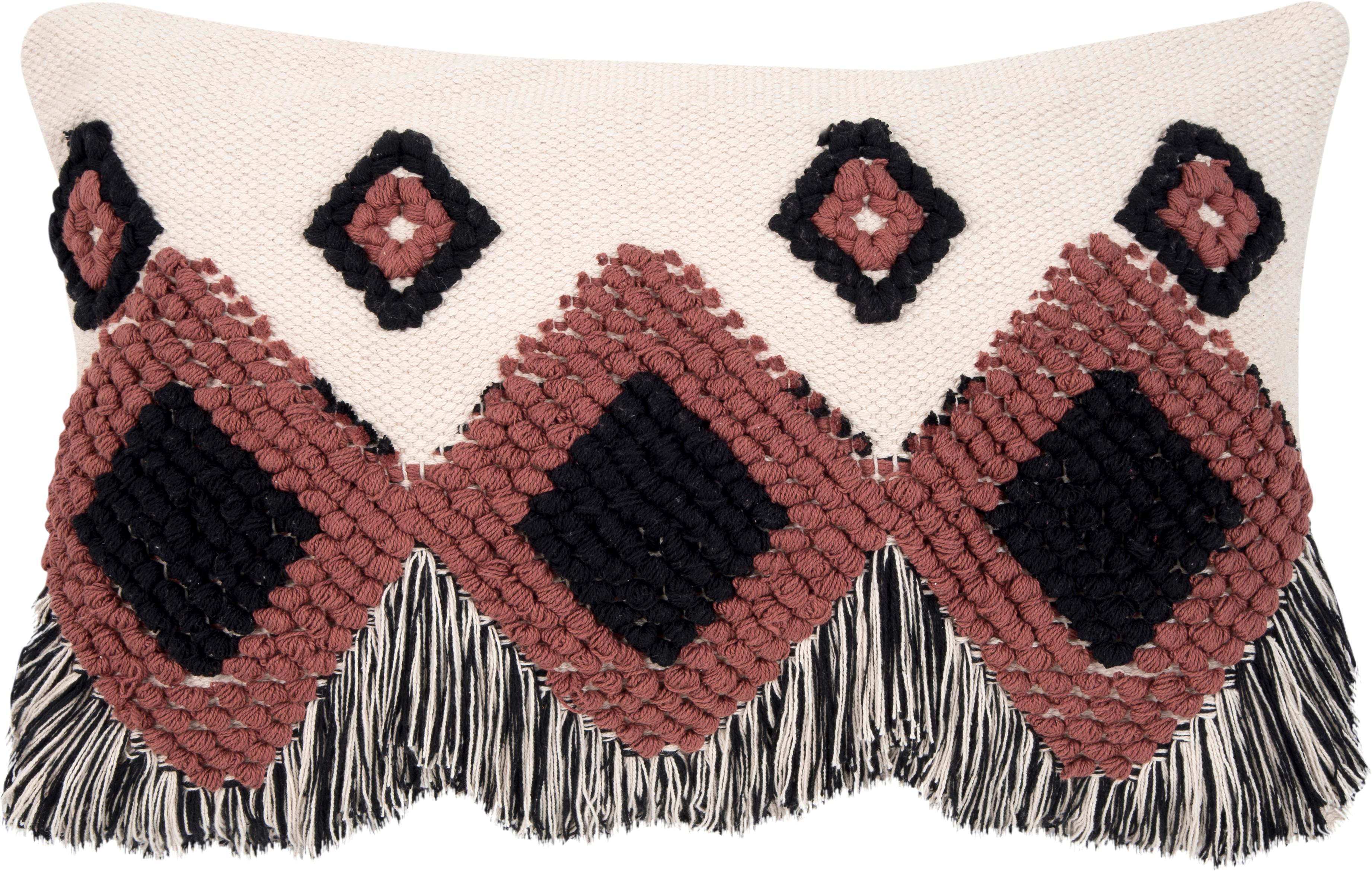 Federa arredo con frange Tanea, Cotone, Ecru, nero, rosso ruggine, Larg. 40 x Lung. 60 cm