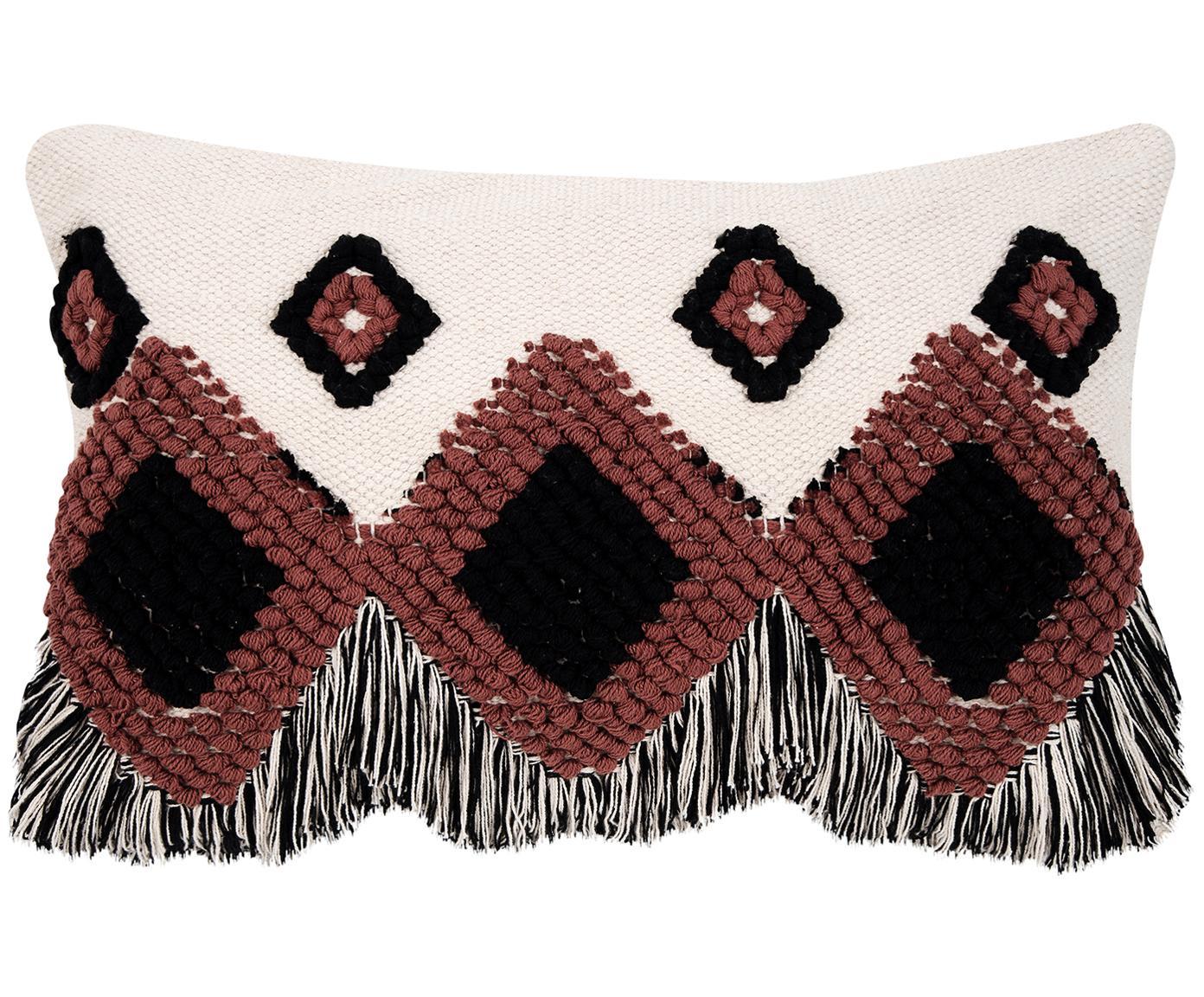 Funda de cojín Tanea, estilo étnico, Algodón, Crudo, negro, rojo cobrizo, An 40 x L 60 cm