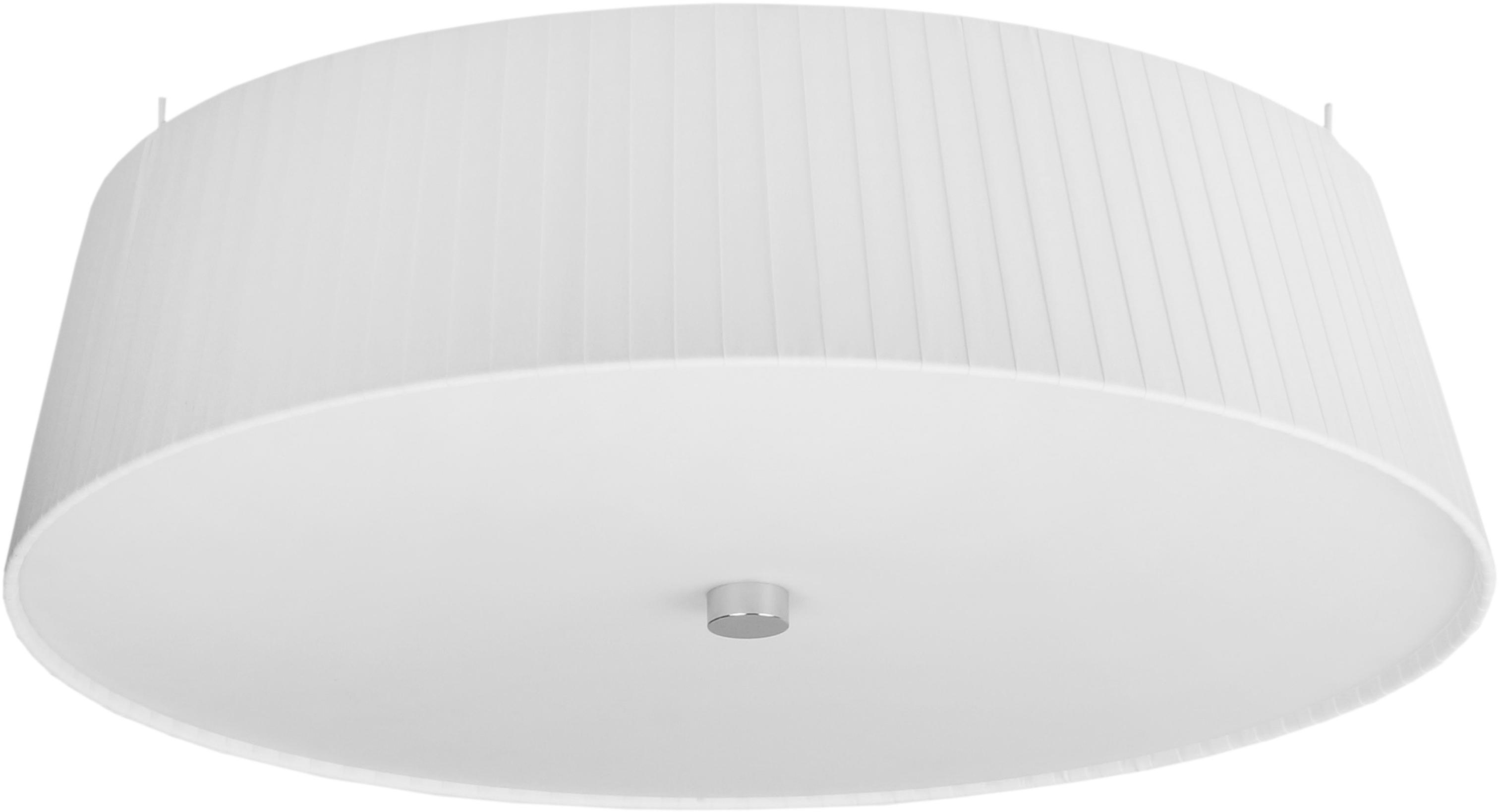Plafondlamp Kami, Lampenkap: polyester, Diffuser: glas, Lampenkap: wit. Diffuser: wit, Ø 45 cm