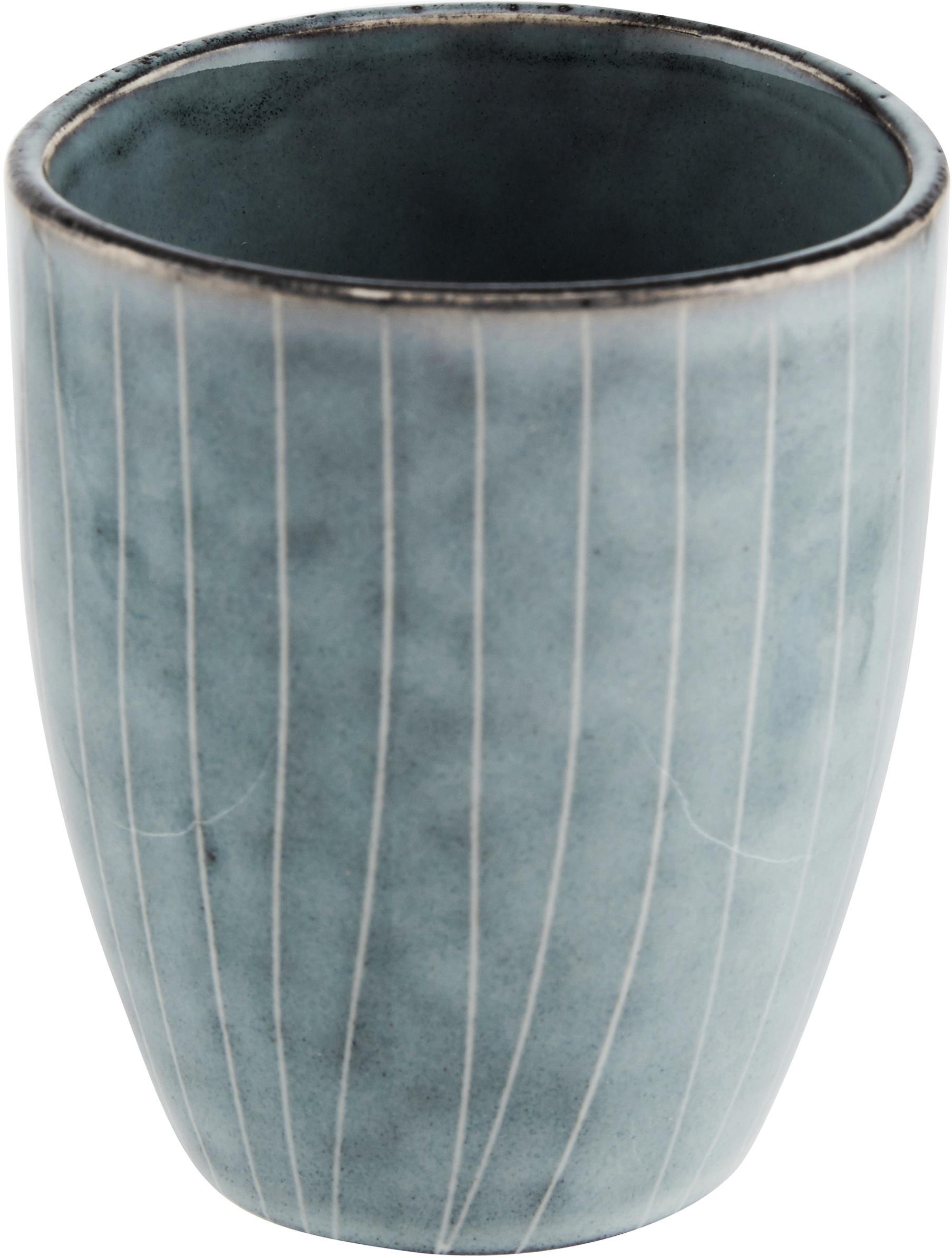 Ręcznie wykonane filiżanki do espresso z kamionki Nordic Sea, 6 szt., Kamionka, Szary i odcienie niebieskiego, Ø 7 x W 8 cm