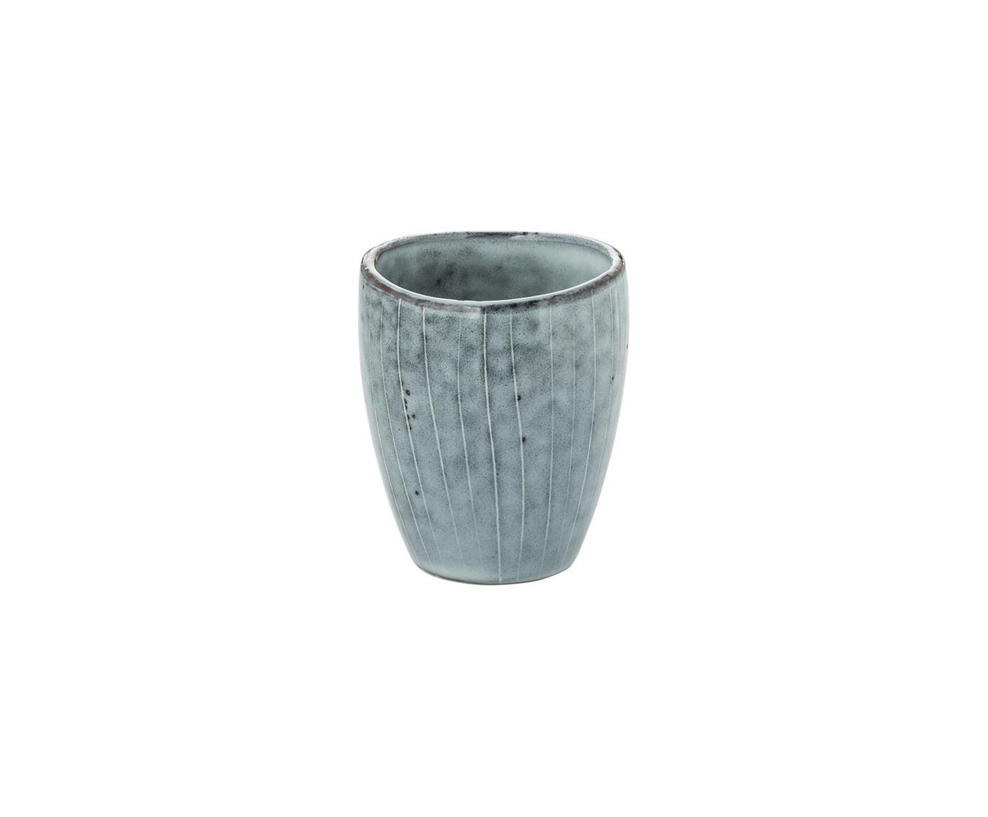 Tazza da caffè fatte a mano Nordic Sea, 6 pz., Gres, Grigio, blu, Ø 7 x A 8 cm
