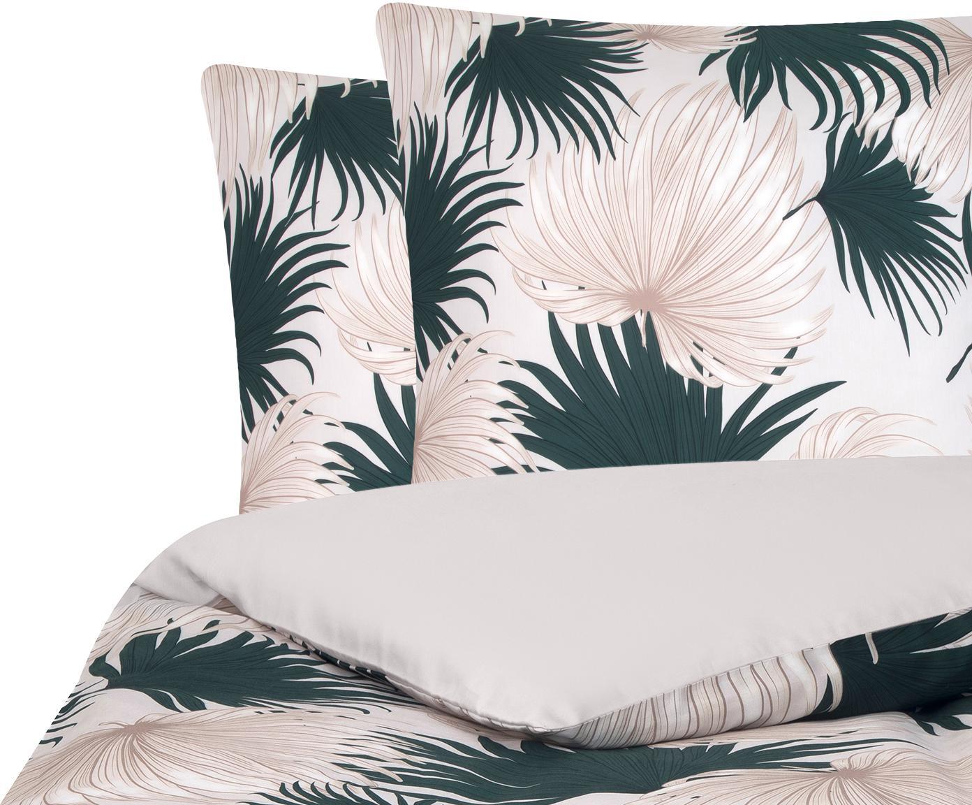 Baumwollsatin-Bettwäsche Aloha mit Palmenblättern, Webart: Satin Fadendichte 210 TC,, Vorderseite: Beige, GrünRückseite: Beige, 200 x 200 cm + 2 Kissen 80 x 80 cm