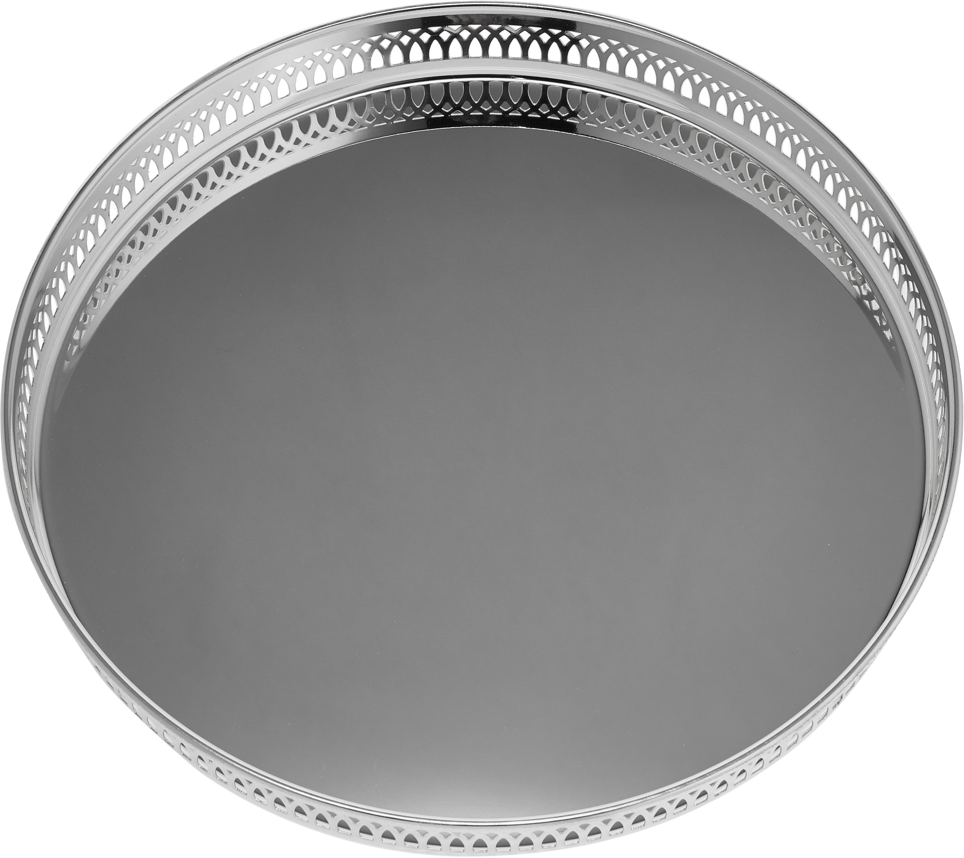 Rundes Spiegeltablett Delphi, versilbert, Stahl, versilbert, Silber, Ø 30 cm