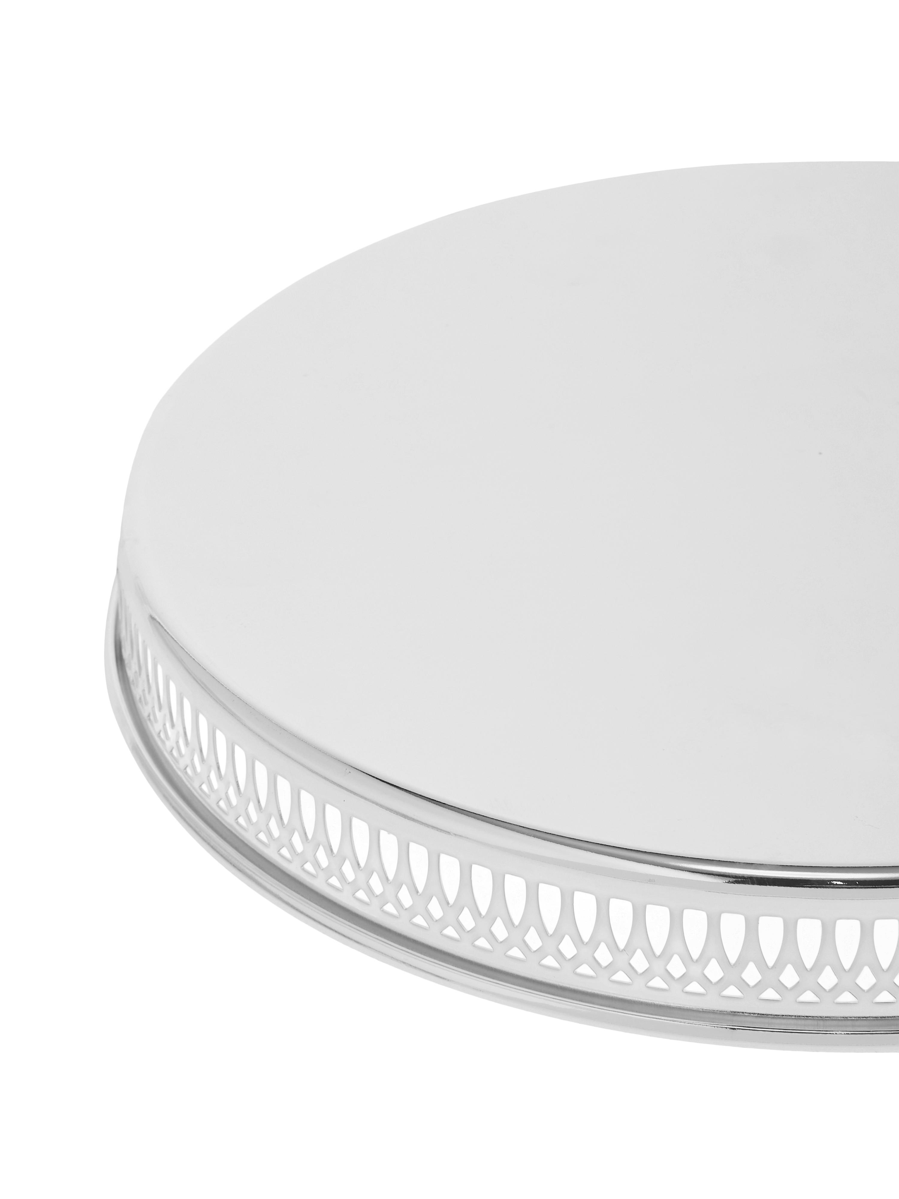 Vassoio rotondo per specchi Delphi, Acciaio argentato, Argento, Ø 30 cm