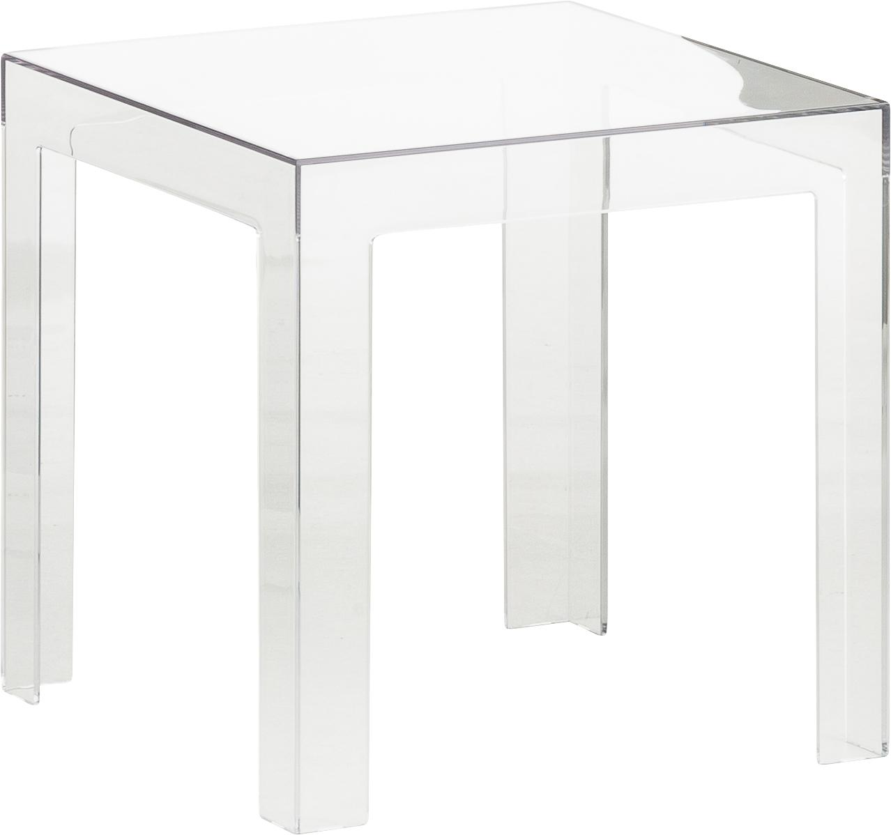 Transparante bijzettafel Jolly, Polycarbonaat, Transparant, 40 x 40 cm