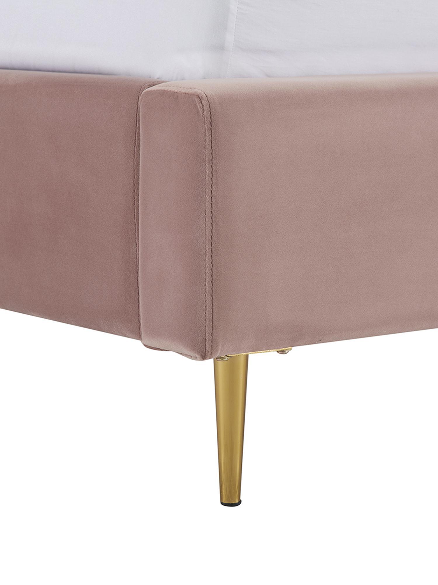Samt-Polsterbett Glamour, Korpus: Massives Kiefernholz, Füße: Metall, vermessingt, Bezug: Samt (Polyester) 100.000 , Bezug: AltrosaFüße: Goldfarben, glänzend, 160 x 200 cm