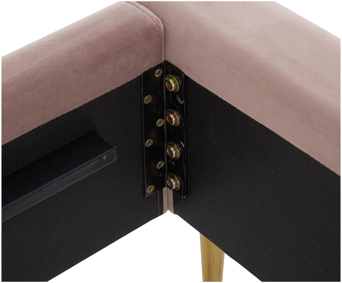 Gestoffeerd fluwelen bed Glamour, Frame: massief grenenhout, Poten: vermessingd metaal, Bekleding: fluweel (polyester), Bekleding: oudroze. Poten: glanzend goudkleurig, 160 x 200 cm