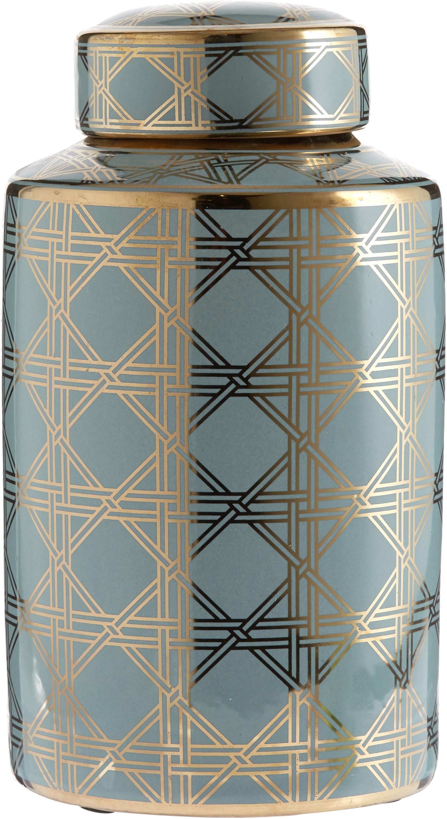 Große Deckelvase Egypt aus Porzellan, Porzellan, Türkis, Goldfarben, Ø 17 x H 30 cm