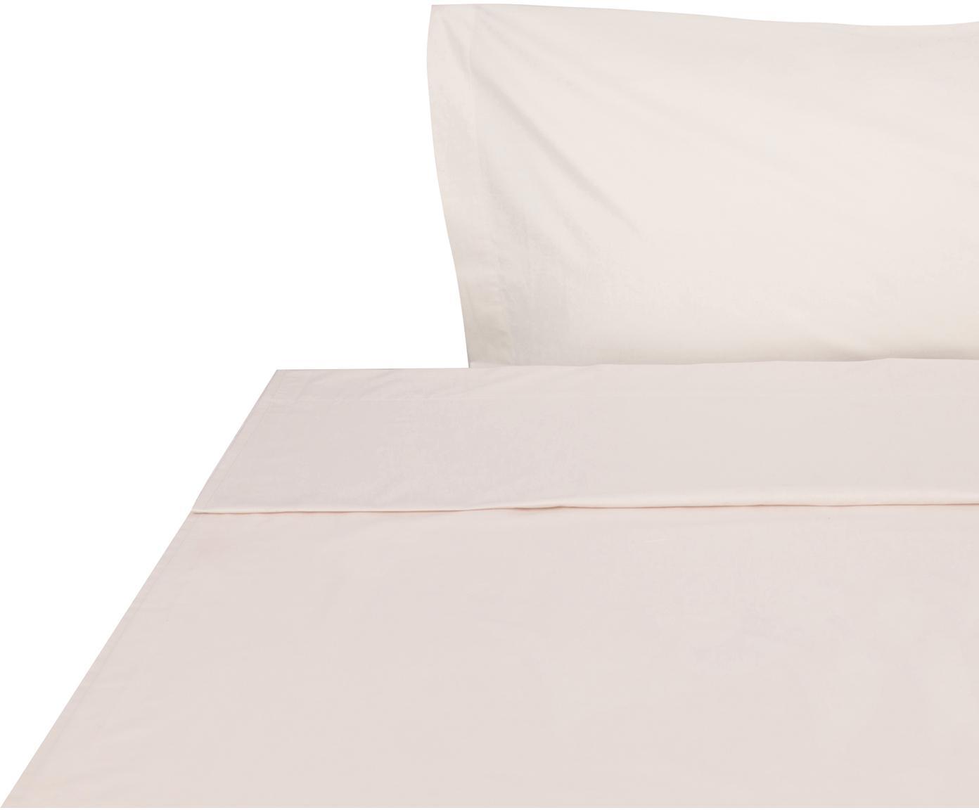 Sábana encimera Plain Dye, Algodón, Crema, Cama 90 cm (155 x 280 cm)
