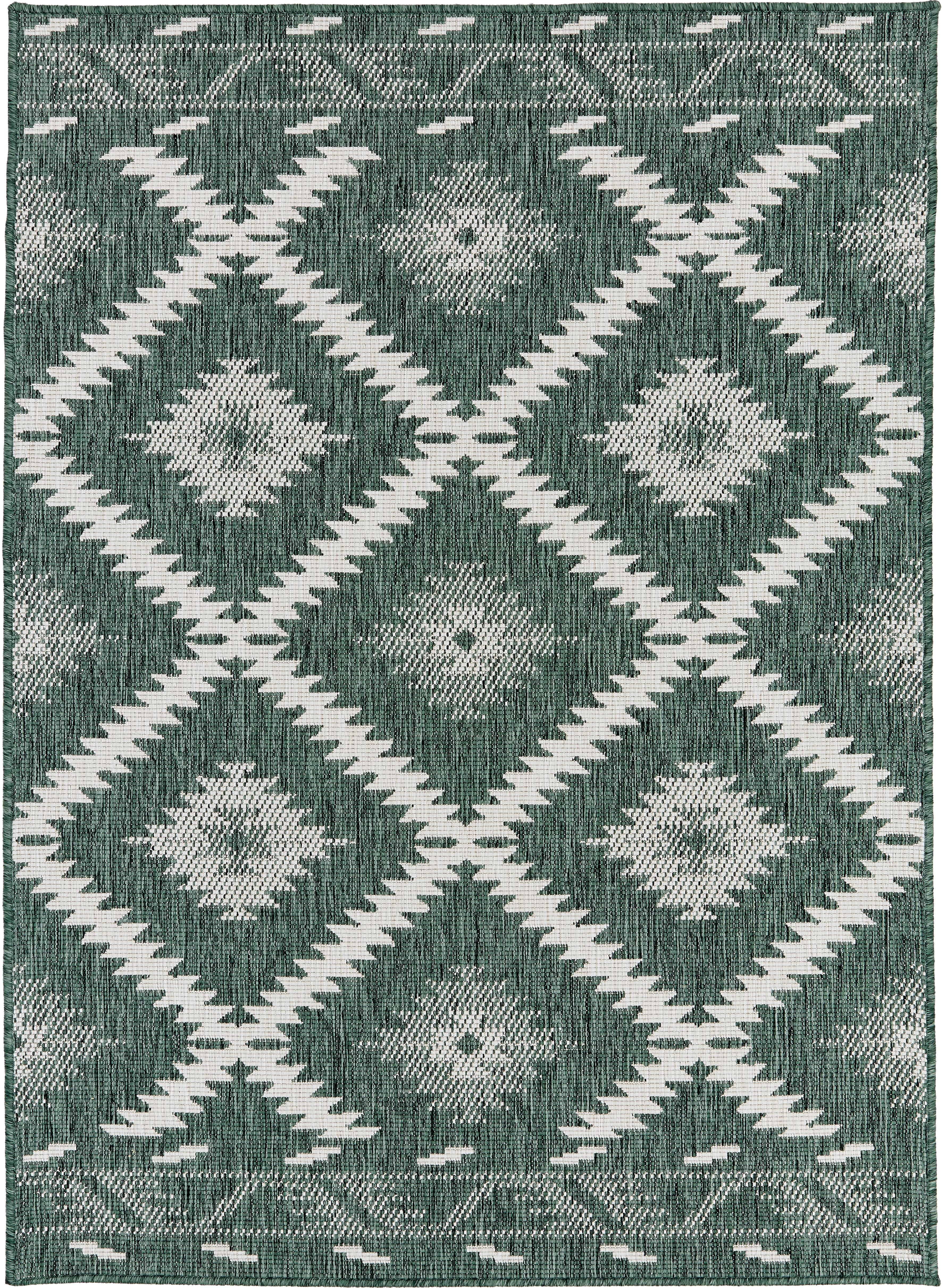 Alfombra reversible de interior/exterior Malibu, Verde, crema, An 120 x L 170 cm (Tamaño S)