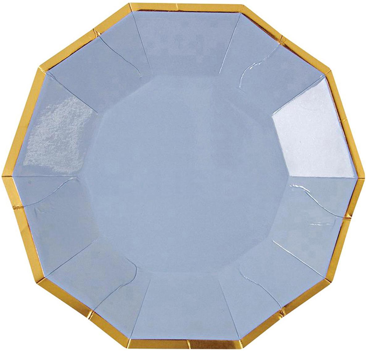 Papieren bordjes Bloom, 16 stuks, Gecoat papier, Lichtblauw, goudkleurig, 11 x 11 cm