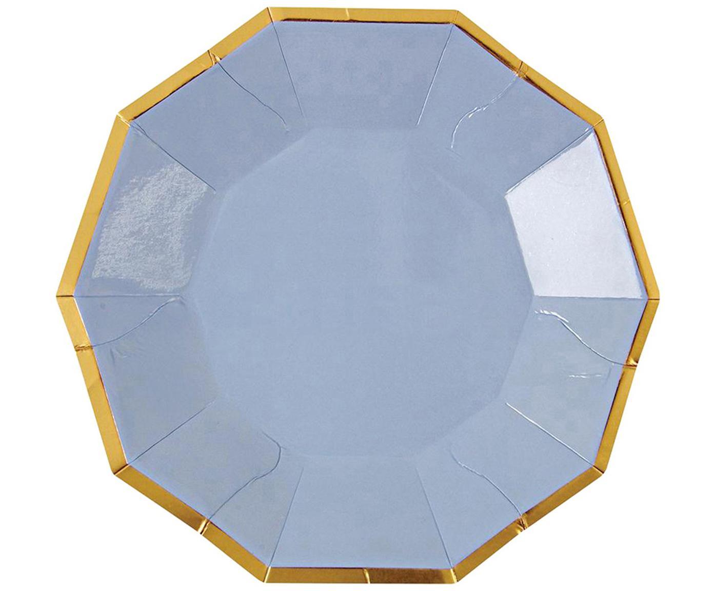 Talerz papierowy Bloom, 16 szt., Papier powlekany, Jasny niebieski, odcienie złotego, S 11 x W 11 cm